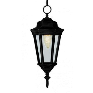 Cambridge 1-Light Black 17.25 in. Outdoor Hanging Lantern with Clear Glass