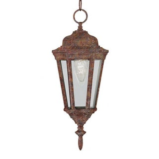 Cambridge 1-Light Rust 17.25 in. Outdoor Hanging Lantern with Clear Glass