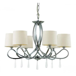 Cambridge 6-Light Polished Chrome 26.75 in. Chandelier with White Linen
