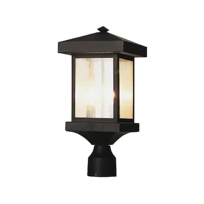 Cambridge 2-Light Weathered Bronze 13 in. Outdoor Post Head with Seeded Glass