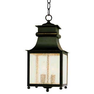 Cambridge 2-Light Weathered Bronze 16.5 in. Outdoor Hanging Lantern with Seeded Glass