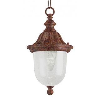 Cambridge 1-Light Rust 18.5 in. Outdoor Hanging Lantern with Seeded Glass