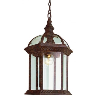 Cambridge 1-Light Rust 17.5 in. Outdoor Hanging Lantern with Beveled Glass
