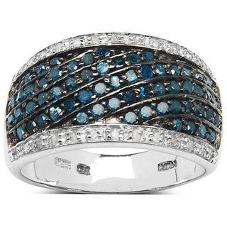 Malaika Sterling Silver 4/5ct TDW Blue and White Diamond Ring