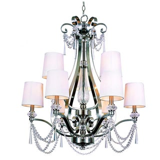 Cambridge 9-Light Brushed Nickel 28 in. Chandelier with White Linen