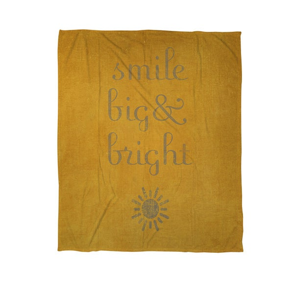 Smile Big and Bright Coral Fleece Throw