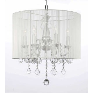 Contemporary 6-light Chandelier with Crystals and Large White Shade