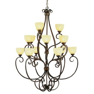 Cambridge 15-Light Rubbed Oil Bronze 40 in. Chandelier with Cream Glass