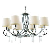 Cambridge 8-Light Polished Chrome 30.75 in. Chandelier with White Linen