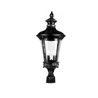 Cambridge 2-Light Black 10.75 in. Outdoor Post Head with Seeded Clear Glass