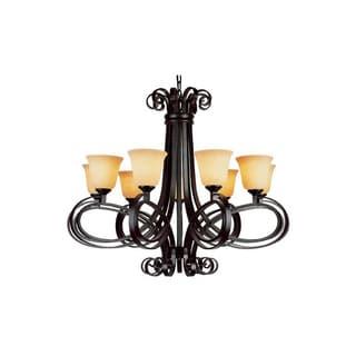 Cambridge 9-Light Dark Bronze 37 in. Chandelier with Beige Glass