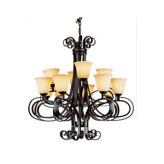 Cambridge 12-Light Dark Bronze 34.75 in. Chandelier with Beige Glass
