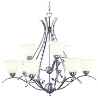 Cambridge 9-Light Brushed Nickel 35 in. Chandelier with White Glass