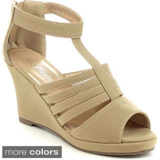 FOREVER TUNAS-68 Women's Cut Out Vamp T-Strap Wedges