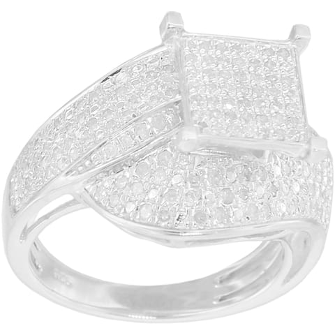 Sterling Silver 3/4ct TDW Diamond Square Setting Ring