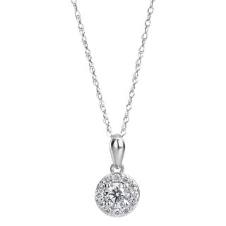 SummerRose 14k White Gold 1/3ct TDW Diamond Halo Solitaire Pendant