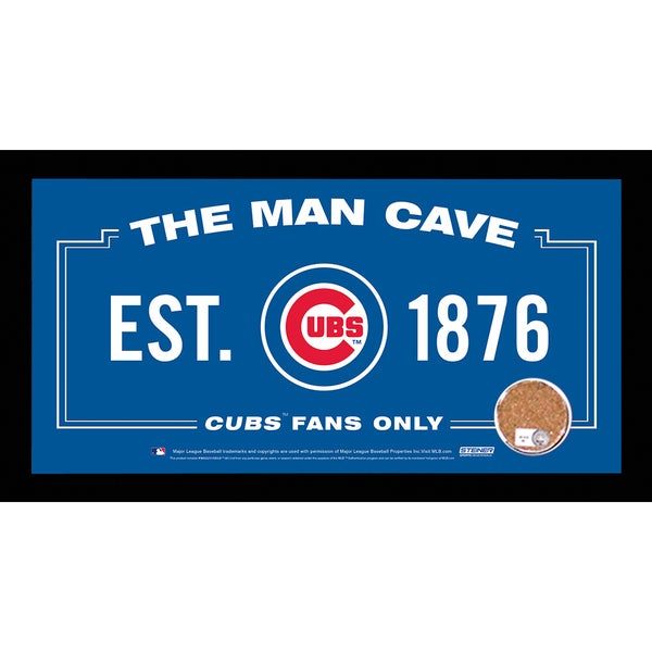 Chicago Cubs Man Cave Sign 6x12 Framed Photo With Authentic Game-Used Dirt (MLB Authenticated)