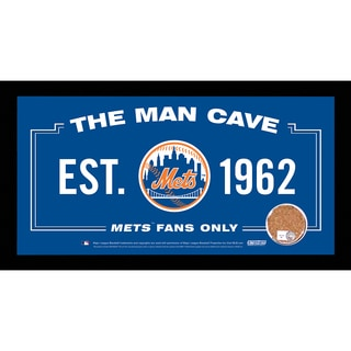 New York Mets Man Cave Sign 6x12 Framed Photo With Authentic Game-Used Dirt Capsule (MLB Auth)