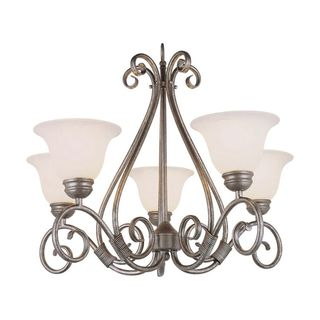 Cambridge 5-Light Pewter 29 in. Chandelier with White Glass