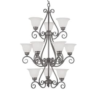 Cambridge 12-Light Pewter 30 in. Chandelier with White Glass