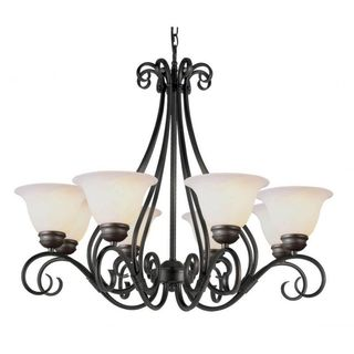Cambridge 8-Light Rubbed Oil Bronze 32 in. Chandelier with White Glass