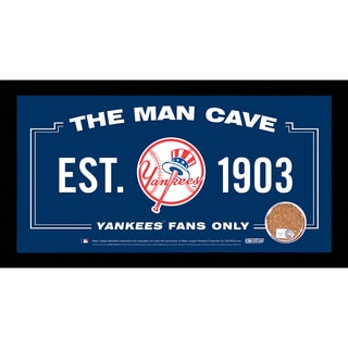 New York Yankees Man Cave Sign 6x12 Framed Photo With Authentic Game-Used Dirt Capsule (MLB Auth)