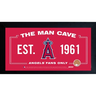 Los Angeles Angels Man Cave Framed 10x20 Sign w/ Authentic Game-Used Dirt (MLB Auth)