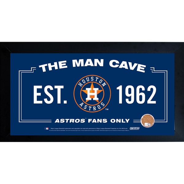Houston Astros Man Cave Framed 10x20 Sign w/ Authentic Game-Used Dirt (MLB Auth)