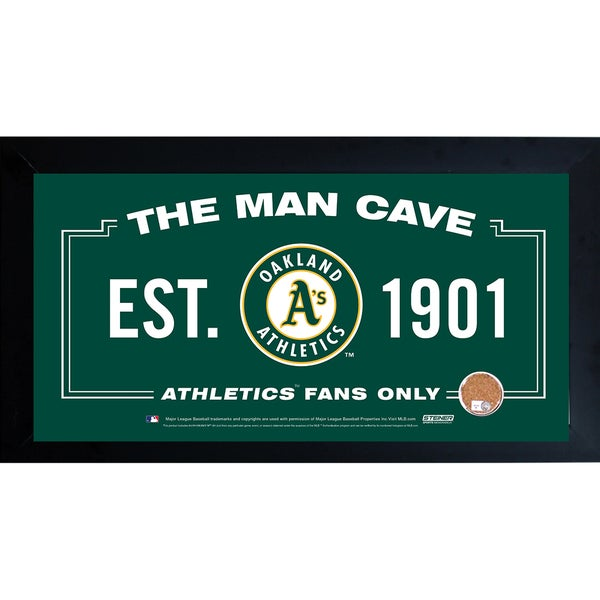 Oakland Athletics Man Cave Framed 10x20 Sign w/ Authentic Game-Used Dirt (MLB Auth)