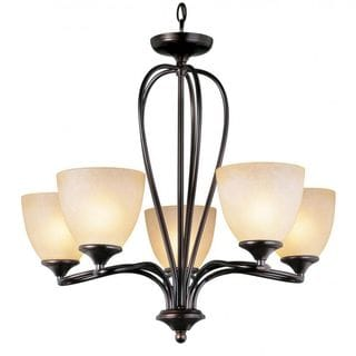 Cambridge 5-Light Rubbed Oil Bronze 24 in. Chandelier with Beige Glass