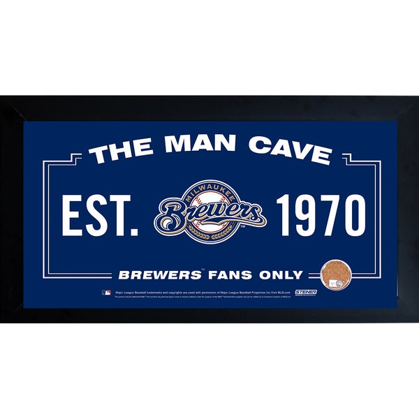 Milwaukee Brewers Man Cave Framed 10x20 Sign w/ Authentic Game-Used Dirt (MLB Auth)