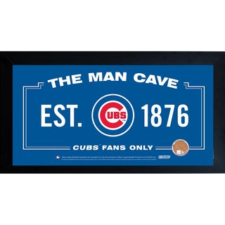 Chicago Cubs Man Cave Framed 10x20 Sign w/ Authentic Game-Used Dirt (MLB Auth)