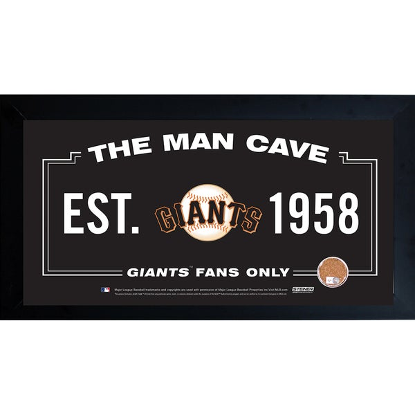 San Francisco Giants Man Cave Framed 10x20 Sign w/ Authentic Game-Used Dirt (MLB Auth)
