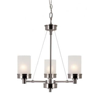 Cambridge 3-Light Brushed Nickel 22 in. Chandelier with White Glass