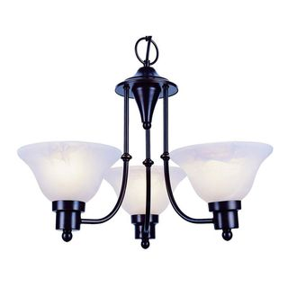 Cambridge 3-Light Weathered Bronze 18.5 in. Chandelier with White Glass