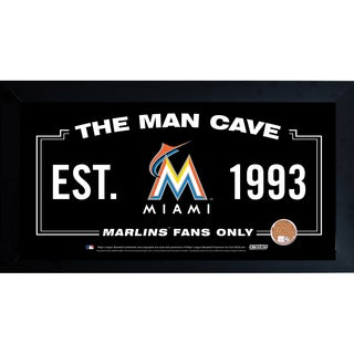 Miami Marlins Man Cave Framed 10x20 Sign w/ Authentic Game-Used Dirt Capsule (MLB Auth)