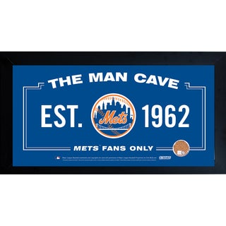 New York Mets Man Cave Framed 10x20 Sign w/ Authentic Game-Used Dirt Capsule (MLB Auth)