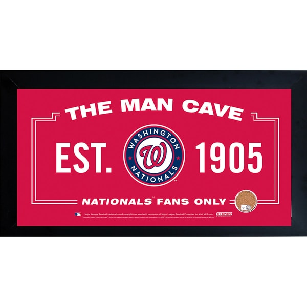 Washington Nationals Man Cave Framed 10x20 Sign w/ Authentic Game-Used Dirt Capsule (MLB Auth)