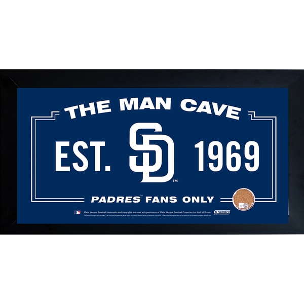 San Diego Padres Man Cave Framed 10x20 Sign w/ Authentic Game-Used Dirt Capsule (MLB Auth)