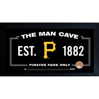 Pittsburgh Pirates Man Cave Framed 10x20 Sign w/ Authentic Game-Used Dirt Capsule (MLB Auth)