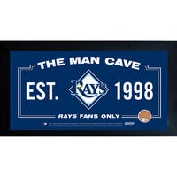 Tampa Bay Rays Man Cave Framed 10x20 Sign w/ Authentic Game-Used Dirt Capsule (MLB Auth)
