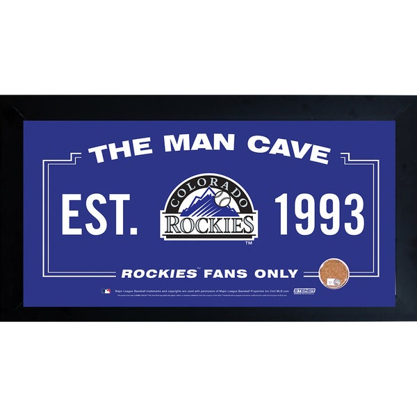 Colorado Rockies Man Cave Framed 10x20 Sign w/ Authentic Game-Used Dirt Capsule (MLB Auth)