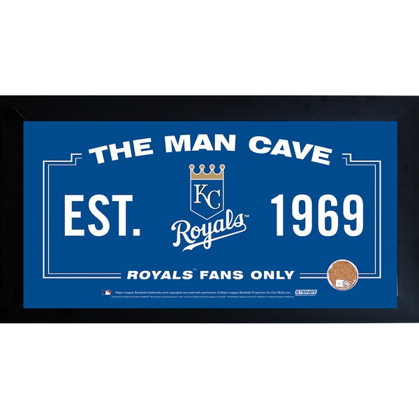 Kansas City Royals Man Cave Framed 10x20 Sign w/ Authentic Game-Used Dirt Capsule (MLB Auth)