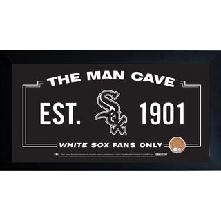 Chicago White Sox Man Cave Framed 10x20 Sign w/ Authentic Game-Used Dirt Capsule (MLB Auth)