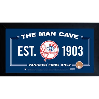 New York Yankees Man Cave Framed 10x20 Sign w/ Authentic Game-Used Dirt Capsule (MLB Auth)