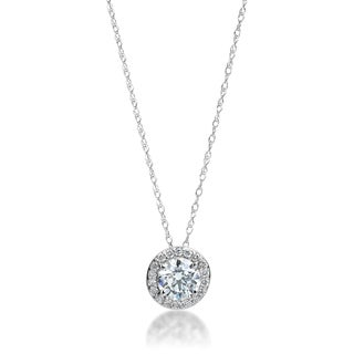 SummerRose 14k White Gold 5/8ct TDW Diamond Halo Solitaire Slide Pendant