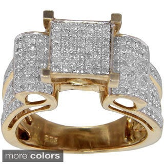 Sterling Silver 4/5ct TDW Micropave Diamond Square Setting Ring