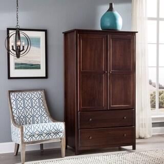 Grain Wood Furniture Shaker 2-door Solid Wood Cherry Finish Armoire|https://ak1.ostkcdn.com/images/products/10034535/P17180213.jpg?_ostk_perf_=percv&impolicy=medium