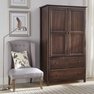 Grain Wood Furniture Shaker Espresso Finish Solid Wood 2 Door Armoire