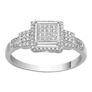 New Sterling Silver 1/4ct TDW Micropave Diamond Square Ring